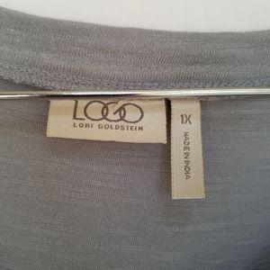 LOGO by Lori Goldstein Tops - LOGO by Lori Goldstein Gray Floral Applique Tunic